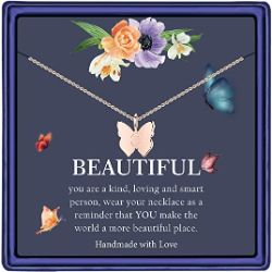 Initial Butterfly Necklace for Girls